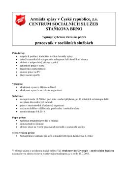 Pracovník/pracovnice v sociálních službách / Brno