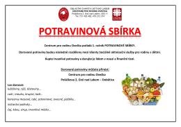 Sbírka - potraviny - Oblastní charita Ústí nad Labem