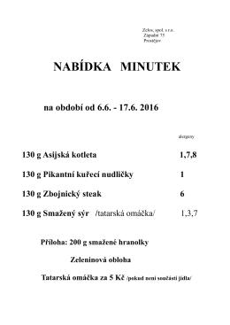 NABÍDKA MINUTEK na období od 6.6.