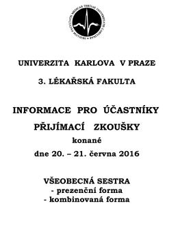 Všeobecná sestra - Univerzita Karlova v Praze