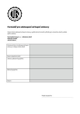 vzorový formulář pro odstoupení od kupní smlouvy.