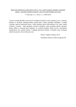 Stanovisko Ministerstva zdravotnictví ČR ve věci využití vlastních