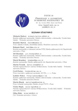 seznam účastníků - PANM 18, Programy a algoritmy numerické