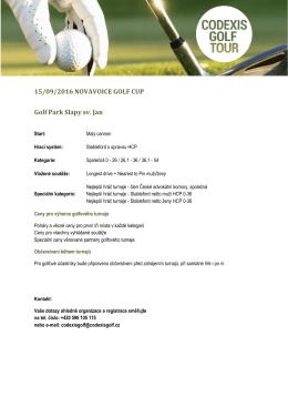 15/09/2016 NOVAVOICE GOLF CUP Golf Park Slapy sv. Jan