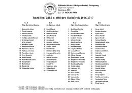 Rozdělení žáků 6. tříd pro školní rok 2016/2017