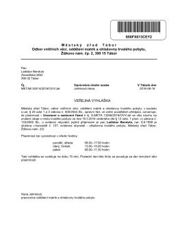 Veřejná vyhláška - uložení písemnosti