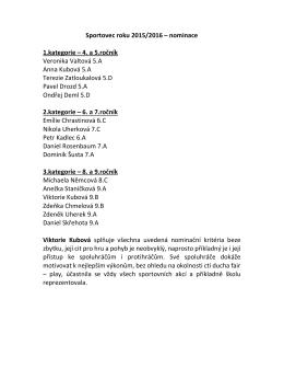 Sportovec roku 2015/2016 – nominace 1.kategorie – 4. a 5.ročník