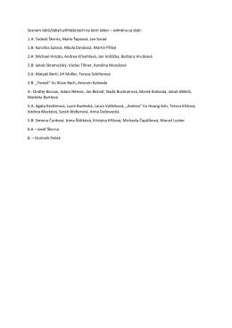 Seznam žáků/žákyň přihlášených na letní tábor – odměna za sběr: 1