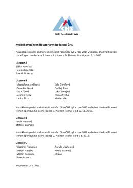Seznam trenérů ČHS licence A, licence B a licence C