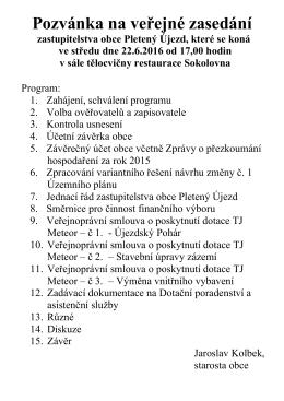 Program veřejného zasedání dne 24