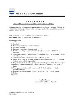 Informace o konání XII. zasedání zastupitelstva městyse