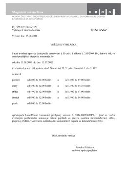 Č.j.: ŽP/387160/16/HPS Vyřizuje: Fišáková Monika Vyvěsit 30