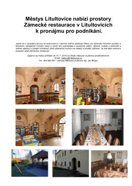 Městys Litultovice nabízí prostory Zámecké restaurace v Litultovicích