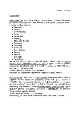 Veřejnoprávní smlouvy uzavřené mezi městem Ivančice a jinými
