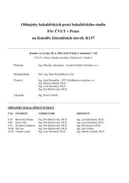Seznam studentů pro státní závěrečné zkoušky