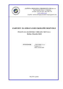 """Zahtjev za izdavanje ekoloske dozvole- """"TMD-MIBO"""""""