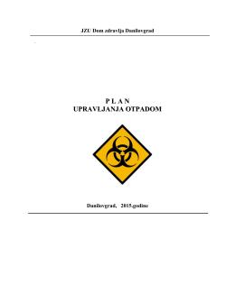 Plan upravljanja odpadom - Dom Zdravlja Danilovgrad