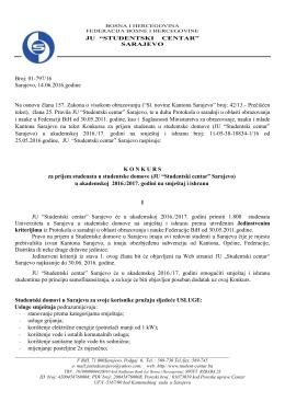 Broj: 01-797/16 Sarajevo, 14.06.2016.godine Na osnovu