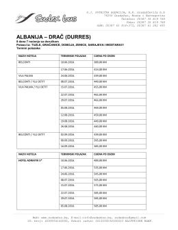 albanija – drač (durres) - Putnička agencija Sudex bus Gradačac