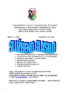 Glasnik 25-2016 - Nogometni savez Zagrebačke županije