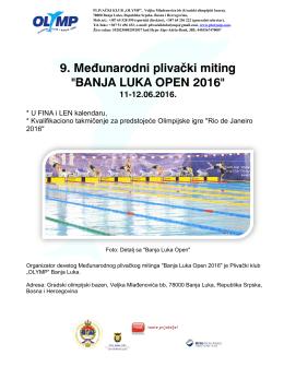 """9. Međunarodni plivački miting """"BANJA LUKA OPEN 2016"""""""
