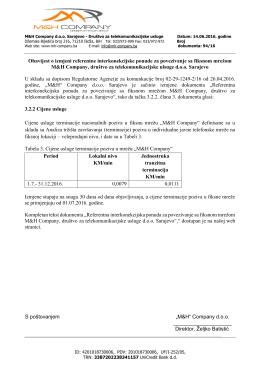 Obavijest o izmjeni referentne interkonekcijske ponude