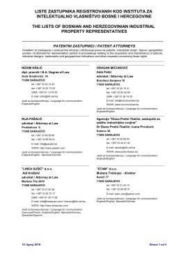 liste zastupnika registrovanih kod instituta za intelektualno