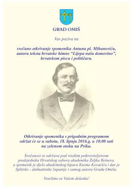 Vas poziva na svečano otkrivanje spomenika Antunu pl. Mihanoviću