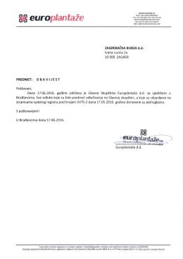 Europlantaže d.d. - odluke Glavne skupštine