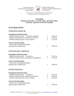 Raspored završnih i maturskih ispita za vanredne polaznike