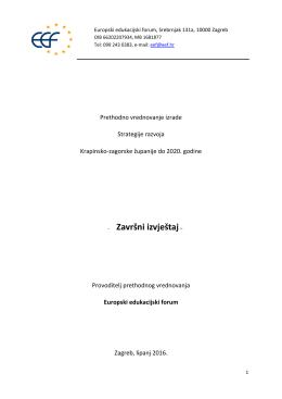 Zavrsni izvjestaj o vrednovanju Zupanijske razvojne strategije