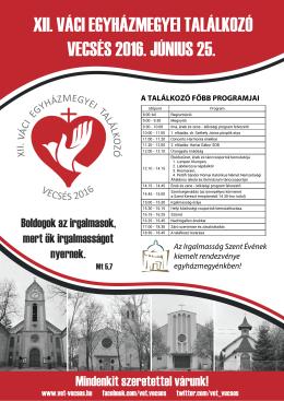 Plakát letöltése - XII. Váci Egyházmegyei Találkozó