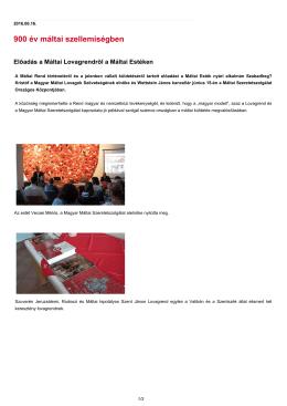 900 év máltai szellemiségben - Magyar Máltai Szeretetszolgálat