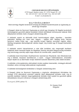 CSONGRÁD MEGYEI FŐÜGYÉSZSÉG 6720 Szeged, Stefánia