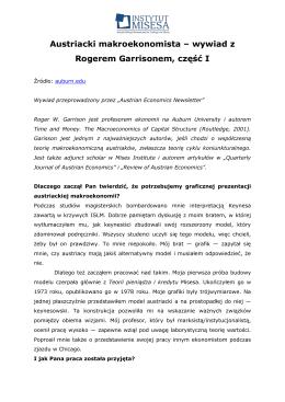 Austriacki makroekonomista – wywiad z Rogerem Garrisonem, część I