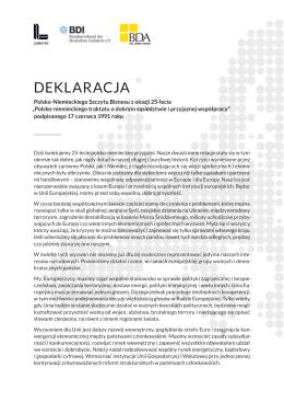 deklaracja - Bundesvereinigung der Deutschen Arbeitgeberverbände