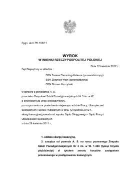 wyrok SN z dnia 12 kwietnia 2012 r. I PK 168/11