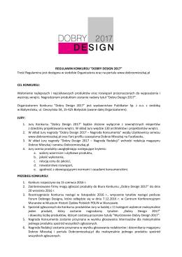 "REGULAMIN KONKURSU ""DOBRY DESIGN 2017"" Treść"