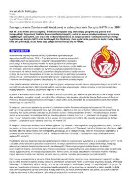 Kwartalnik Policyjny Zaangażowanie Żandarmerii Wojskowej w