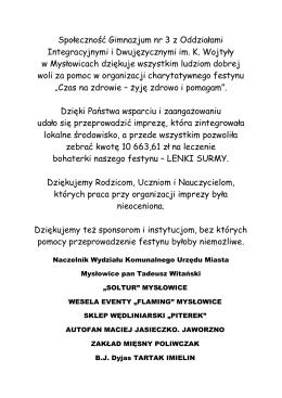 Lenka dostała 10 663,61 zł - DZIĘKUJEMY!