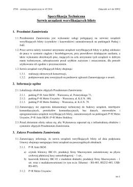 Specyfikacja Techniczna Serwis urządzeń