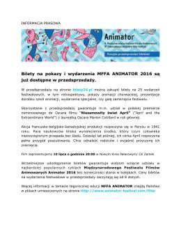 Animator 2016 I Przedsprzedaż