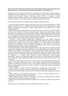 Ocena stosowania Zasad Ładu Korporacyjnego dla Instytucji