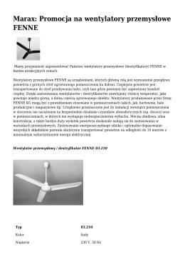 Marax: Promocja na wentylatory przemysłowe