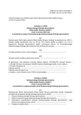 Tresc podjetych uchwal 13.06.2016