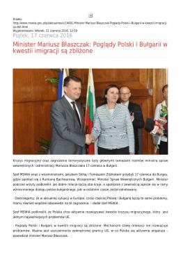 Minister Mariusz Błaszczak: Poglądy Polski i Bułgarii w kwestii