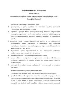MINISTER EDUKACJI NARODOWEJ ogłasza konkurs na