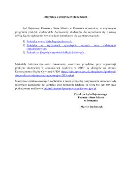 Informacja o praktykach studenckich Sąd Rejonowy Poznań – Stare