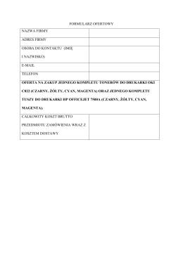 formularz ofertowy nazwa firmy adres firmy osoba do kontaktu (imię i
