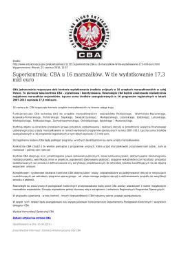 CBA u 16 marszałków. W tle wydatkowanie 17,3 mld